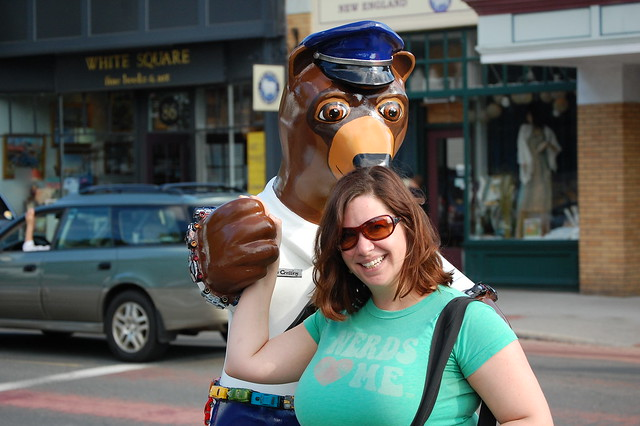 Crossing Guard Bear is smelling my hair.