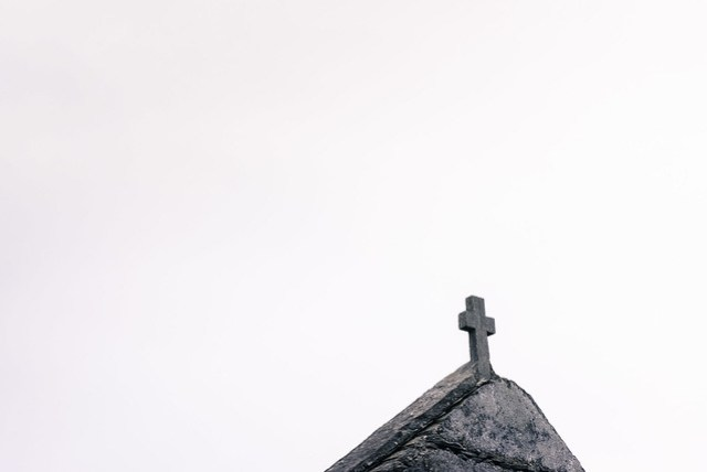 The cross atop Inishshark's church