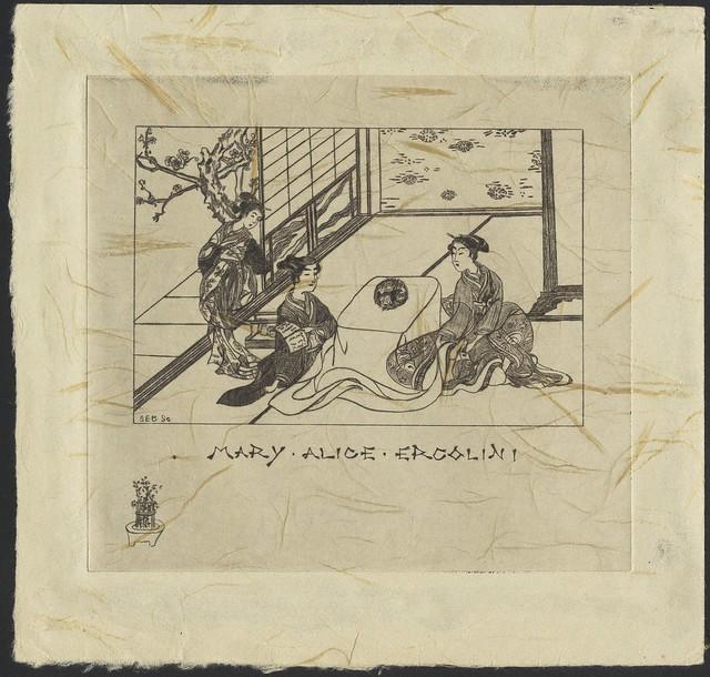 bookplate: temática japonesa com 3 senhoras em casa japonesa tradicional