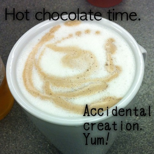 Left over white hot chocolate with normal hot chocolate. Yum. #typoinsta #hotchocolate #thefountain