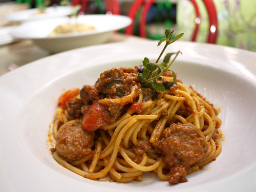 Italian Sausage and Bolognese at Tuscano Italian Wood Oven Pizza & Restaurant