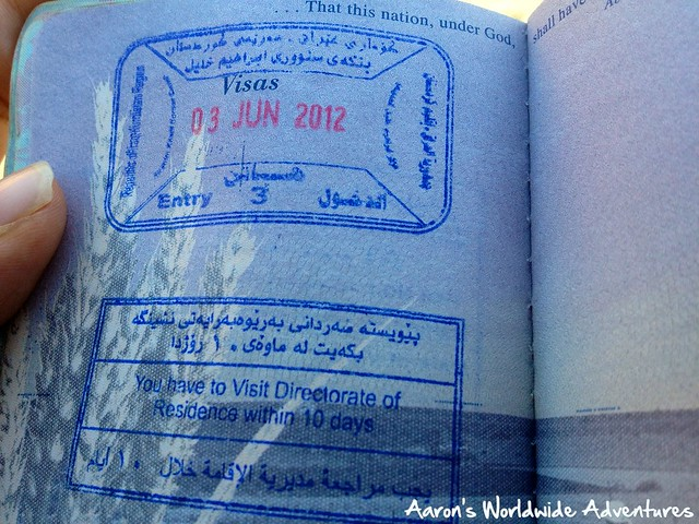 Iraqi Kurdistan Passport Stamp