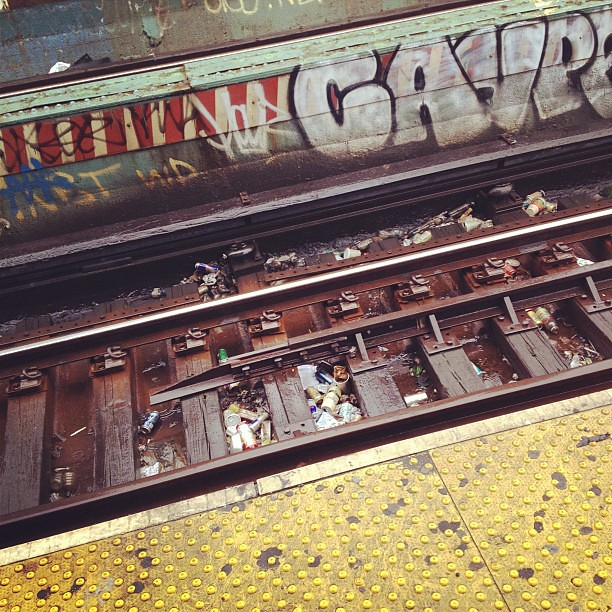 Rainy morning and subway trash