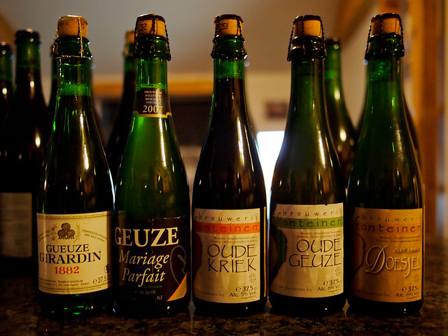 Girardin Gueuze White Label, Boon Oude Geuze Mariage Parfait, Drie Fonteinen Oude Kriek, Oude Dueuze and Doesjel