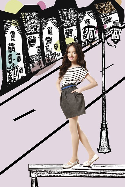 [Photo 1b] - Stripes cream and black boat neck top and dark soft denim tulip skirt with side pockets