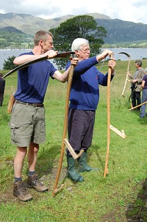 Teaching John Craven to scythe
