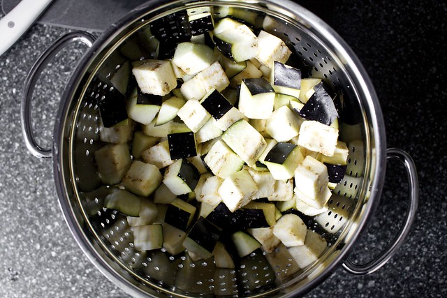 salting and draining the eggplant
