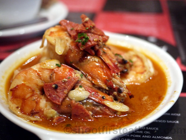 gambas sauteed in chorizo, white wine & parsley P380