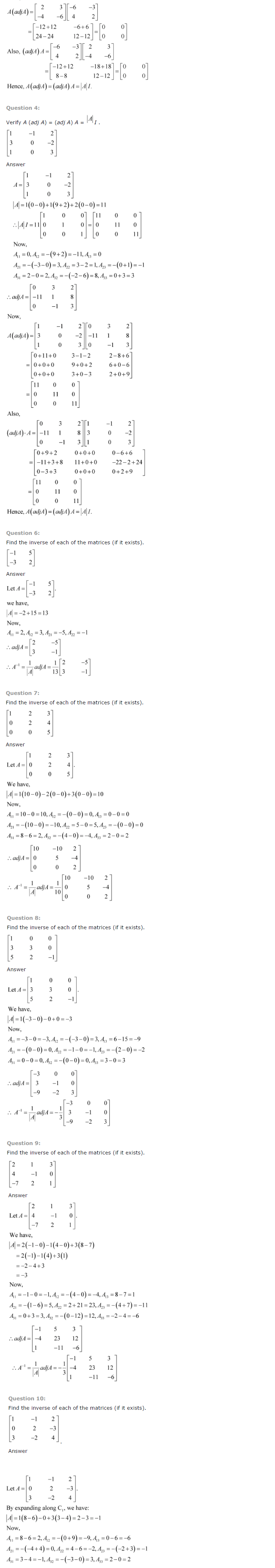 NCERT Solutions for Class 12 Maths Chapter 4 Determinants ex 4.9