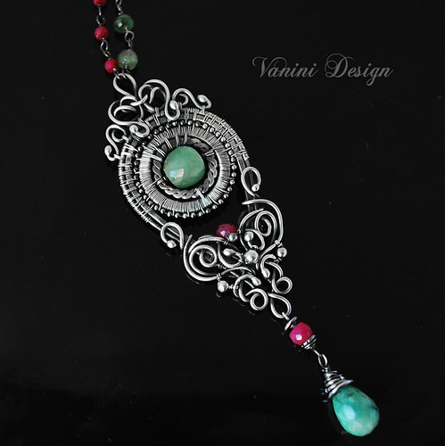 Esmeralda-Fine/Sterling Silver,Emerald and Ruby pendant Necklace