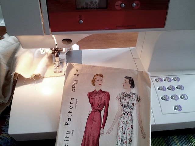 My 1930s dress pattern (photo taken when I was working on the muslin mock-up).