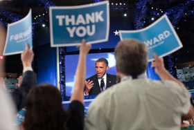 President Obama Addresses Convention Floor at 2012 DNC
