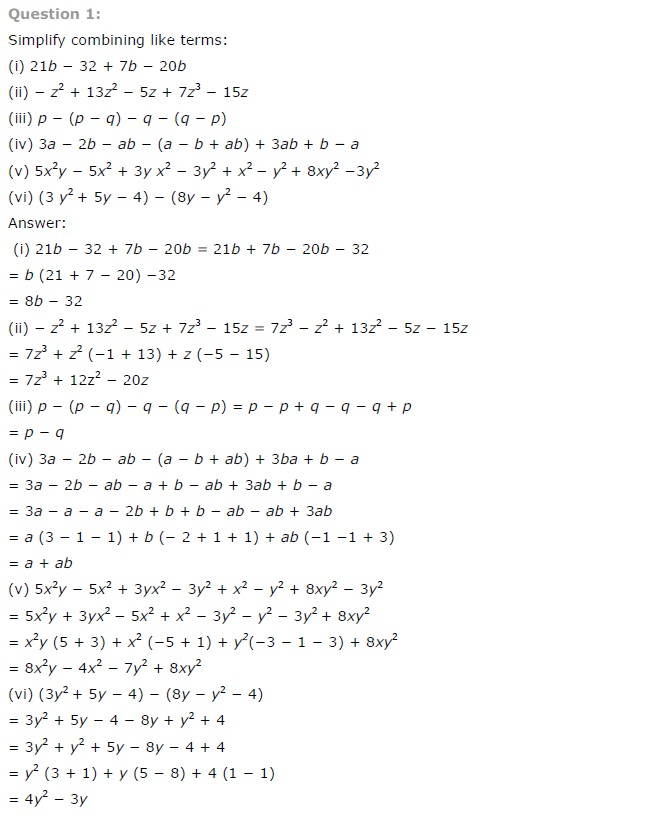 NCERT Solutions for Class 7th Maths Chapter 12 Algebraic Expressions Exercise 12.2