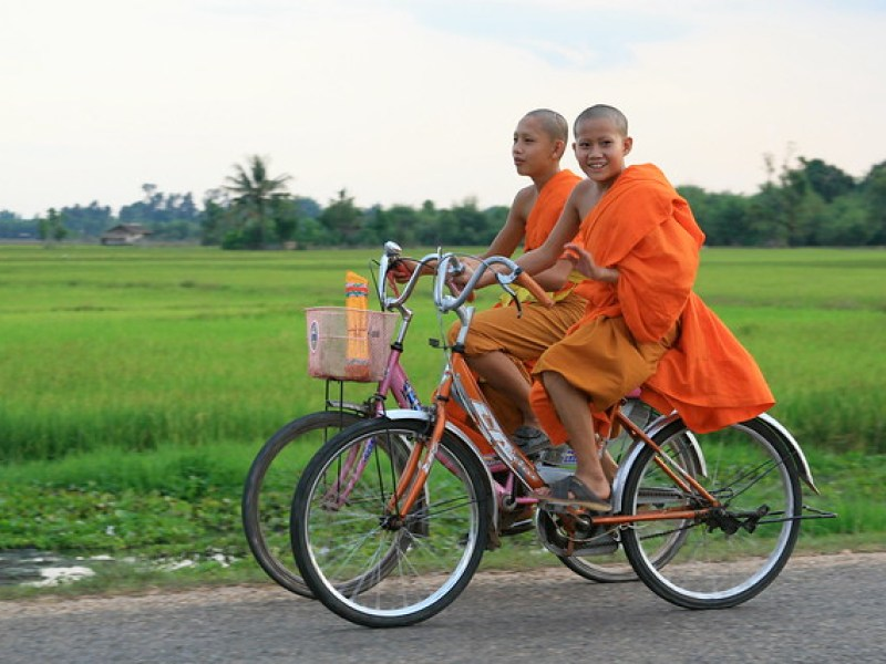 LAOS, young monks & bikes