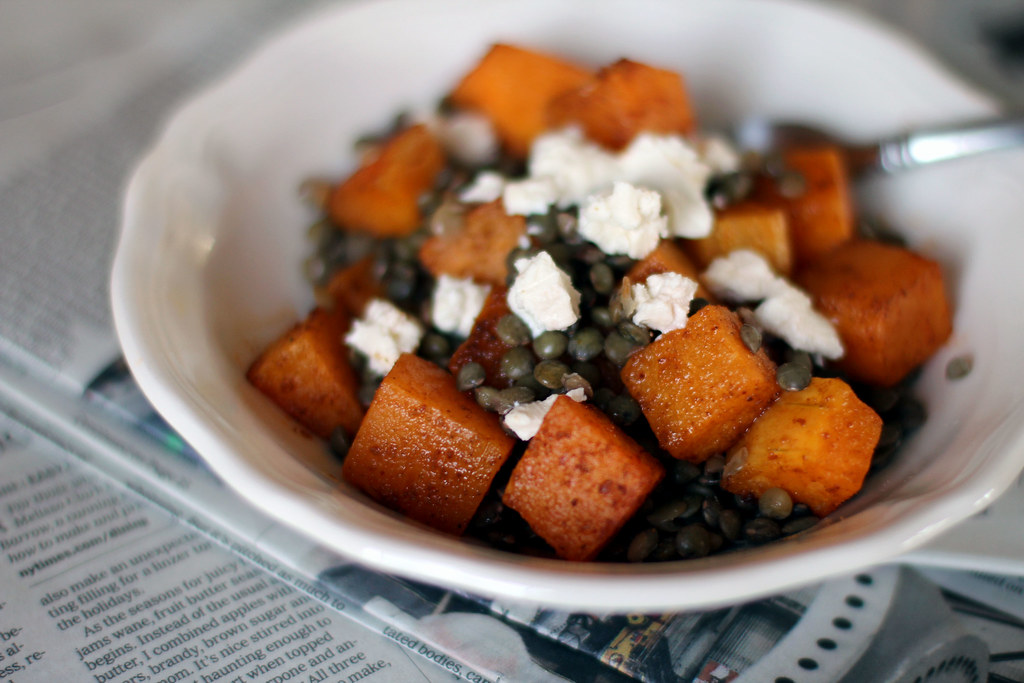 spicy squash, lentil and goat cheese salad