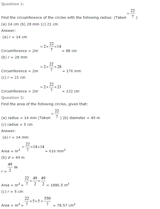 NCERT Solutions for Class 7th Maths Chapter 11 Perimeter and Area Exercise 11.3