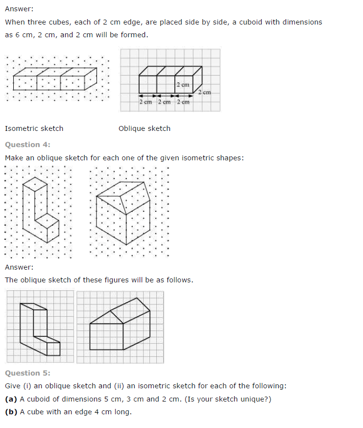 NCERT Solutions for Class 7 Maths Chapter 15 Visualising Solid Shapes Exercise 15.2