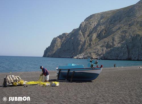 Pescador en Santorini