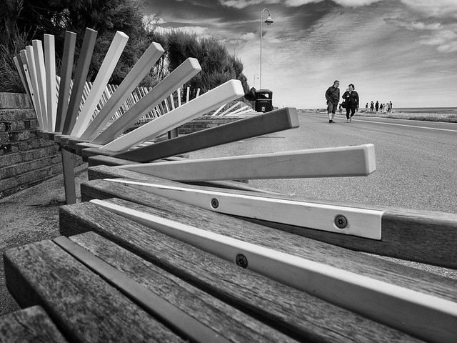 Bench seating along the seafront