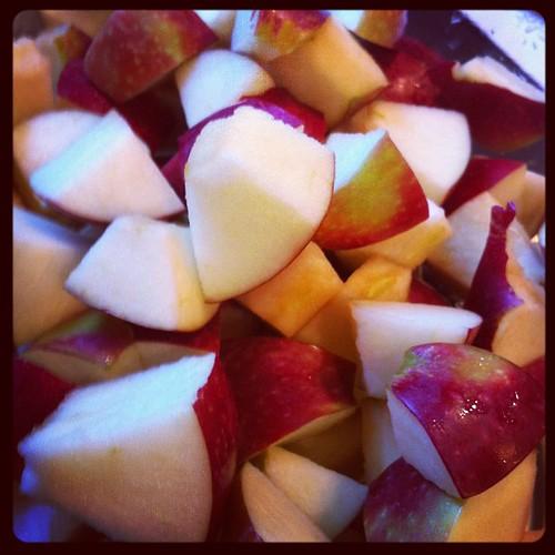 Apple crisp in the making