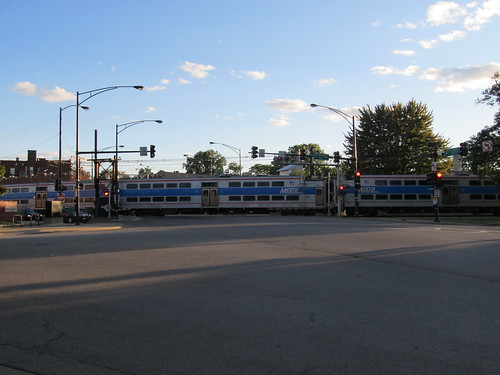 Inbound Metra Electric Train Departing From the South Shore Station on the South Chicago Branch