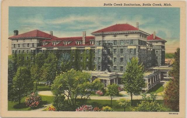 SW Battle Creek MI Sanitarium Groungs at Main Entrance opened 1866 by John Harvey Kellogg Western Health Reform Institute Photographer Unk BC News Card