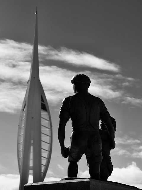 Spinnaker Tower and sculpture