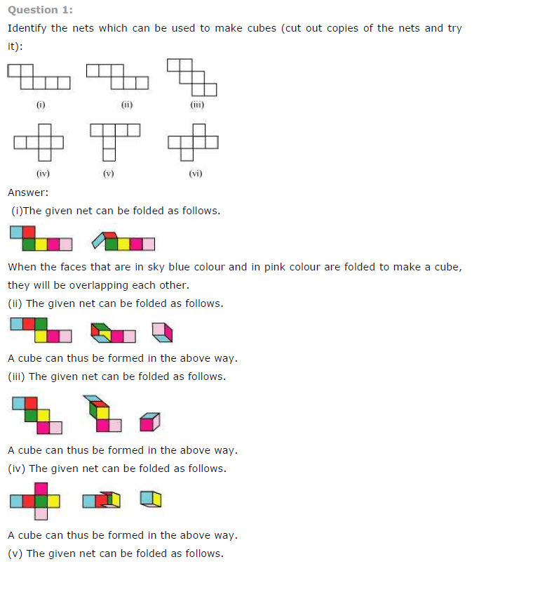 NCERT Solutions for Class 7th Maths Chapter 15 Visualising Solid Shapes Exercise 15.1