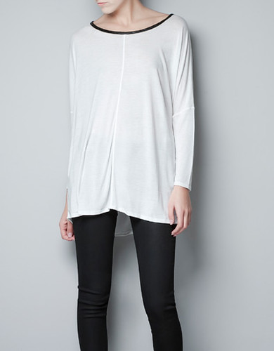 Zara - 'Leather' Trim Shirt.
