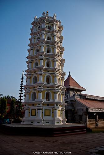 Deep Stambh at Mahalasa Temple in the day