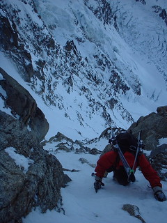 Tom down climbing in