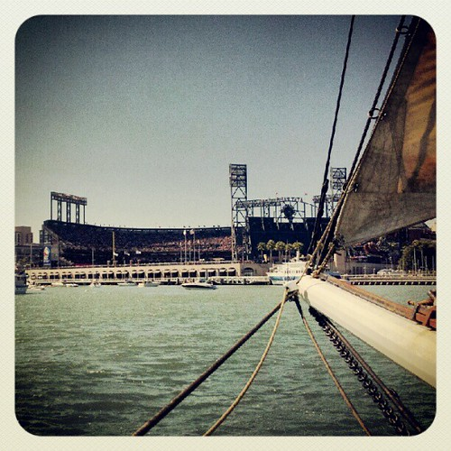 We sailed into McCovey Cove just in time for the seventh inning stretch!