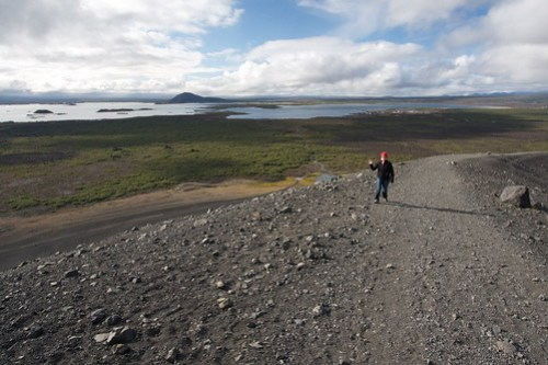 Hiking Crater Hverfjall at Myvatn