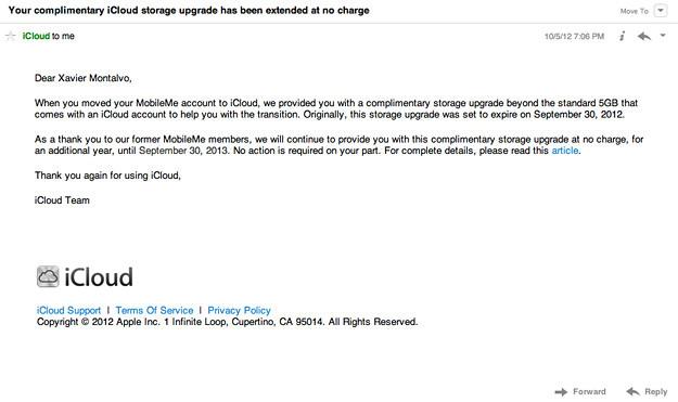 Apple regala 20GB adicionales en iCloud a usuarios de MobileMe