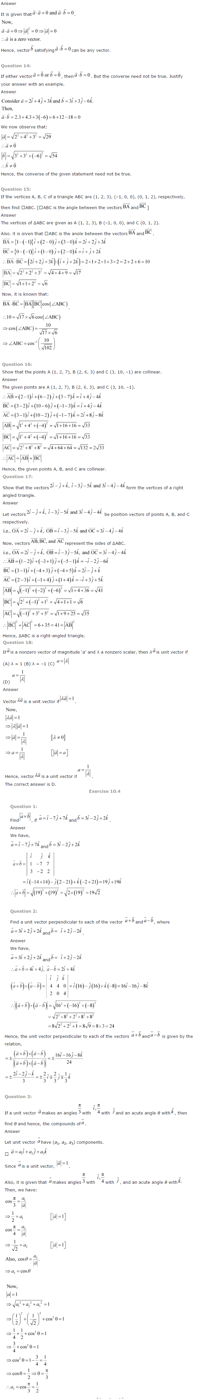 NCERT Solutions for Class 12 Maths Chapter 10 Vector Algebra ex10.4