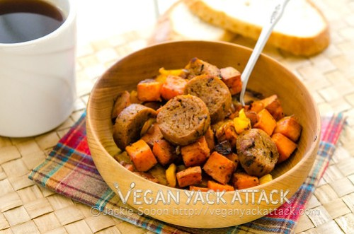 A warm and crispy sweet potato hash combined with subtly hot chipotle seitan sausage make for a delightful and filling breakfast.