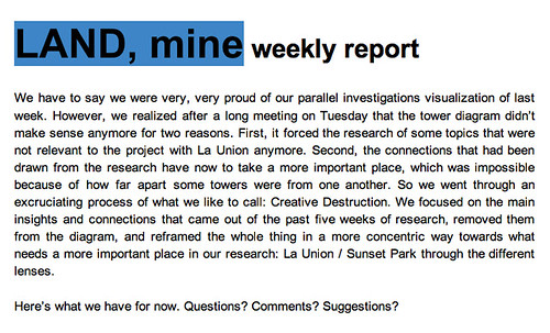 LAND, mine - Weekly Report