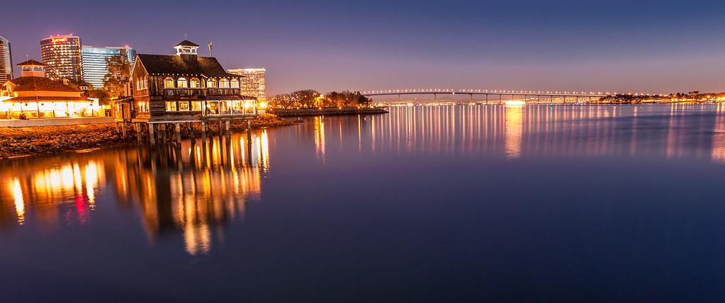 Seaport Village Night Panoramic