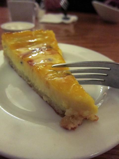 Thin slice of a creamy tart.