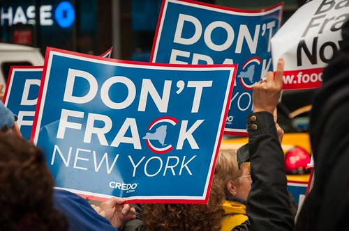 Activists protest fracking outside Gov. Cuomo's office, New York