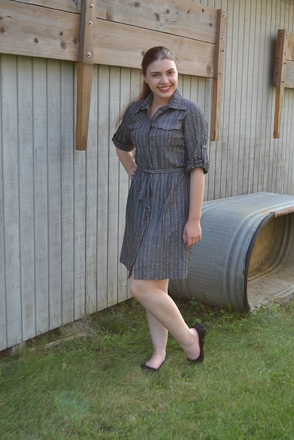 Anne Klein Gray Pinstripe Shirtdress