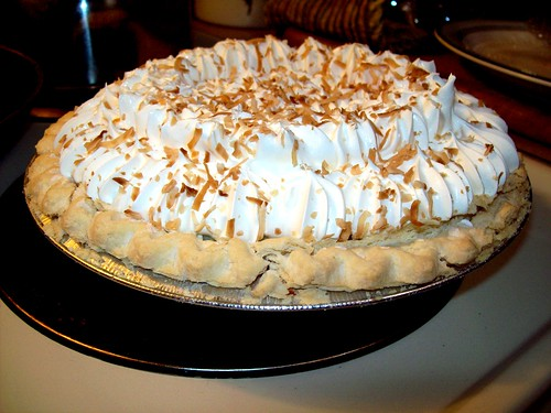 Pie in the face: A Marie Callender's Coconut Cream Pie, prior to dispatch into my face
