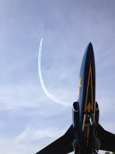 Stationary Blue Angel, with Brothers in the Air