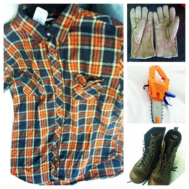 halloween thrift lumberjack costume