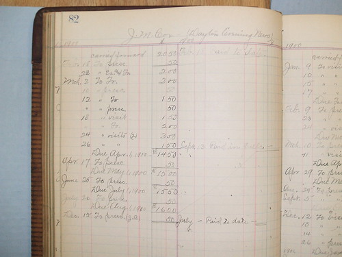 J. M. Cox billing record, 1900