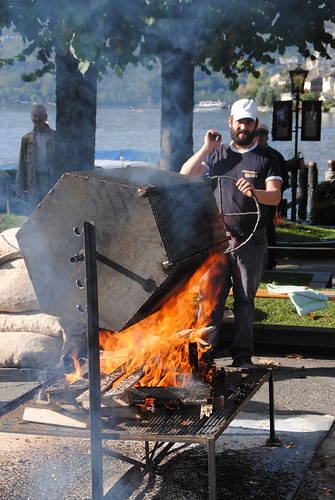 roasting chestnuts by lake orta