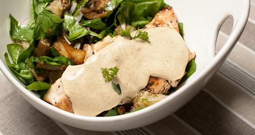 Eggplant, Chicken & Curry Mayo Salad