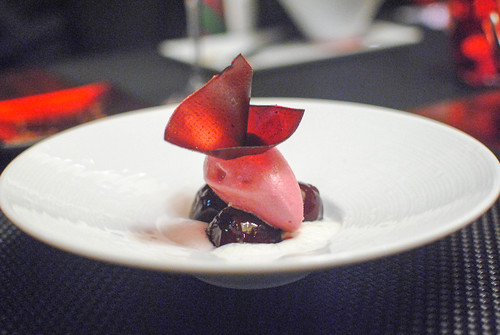 Le Raisin fresh grape covered with a red wine jelly served on a light mint cream