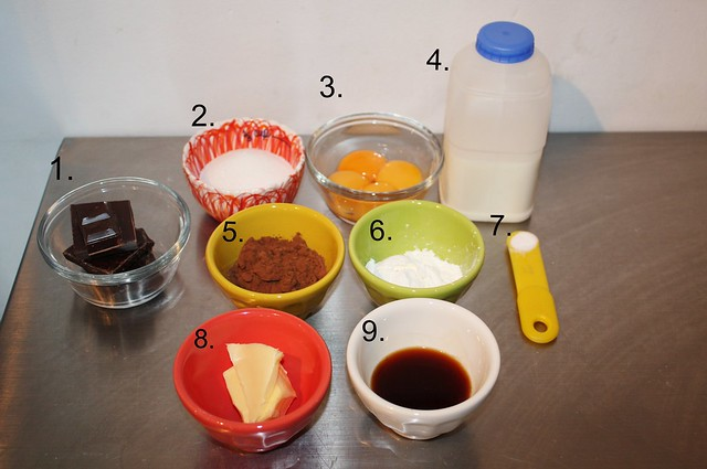 Chocolate cream pastry ingredients