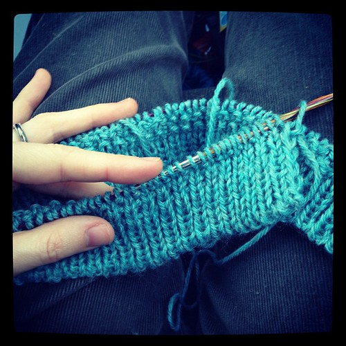 Knitting away on M's sweater. Car trips = good for knitting!
